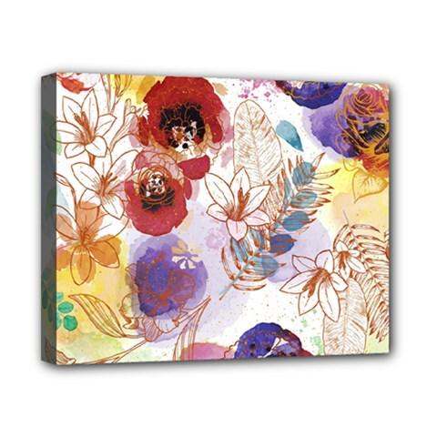 Watercolor Spring Flowers Background Canvas 10  x 8