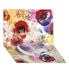 Watercolor Spring Flowers Background Circle Bottom 3D Greeting Card (7x5)