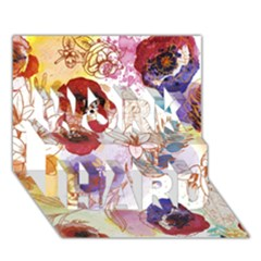 Watercolor Spring Flowers Background WORK HARD 3D Greeting Card (7x5)