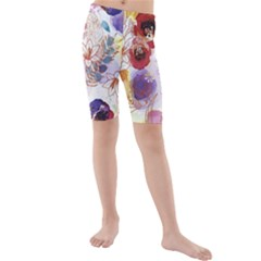 Watercolor Spring Flowers Background Kids  Mid Length Swim Shorts
