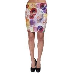 Watercolor Spring Flowers Background Bodycon Skirt