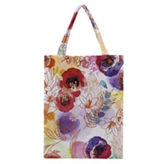 Watercolor Spring Flowers Background Classic Tote Bag
