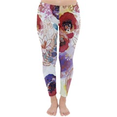 Watercolor Spring Flowers Background Classic Winter Leggings