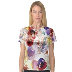 Watercolor Spring Flowers Background Women s V-Neck Sport Mesh Tee