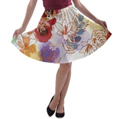 Watercolor Spring Flowers Background A-line Skater Skirt