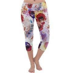 Watercolor Spring Flowers Background Capri Yoga Leggings