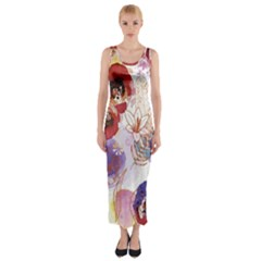 Watercolor Spring Flowers Background Fitted Maxi Dress
