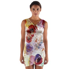 Watercolor Spring Flowers Background Wrap Front Bodycon Dress