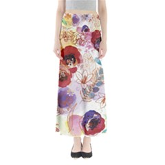 Watercolor Spring Flowers Background Maxi Skirts