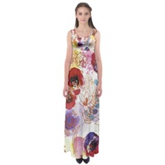 Watercolor Spring Flowers Background Empire Waist Maxi Dress