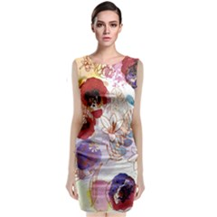 Watercolor Spring Flowers Background Classic Sleeveless Midi Dress