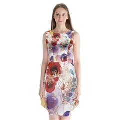 Watercolor Spring Flowers Background Sleeveless Chiffon Dress
