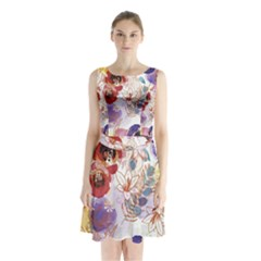 Watercolor Spring Flowers Background Sleeveless Chiffon Waist Tie Dress