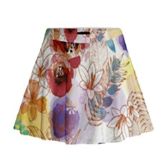 Watercolor Spring Flowers Background Mini Flare Skirt