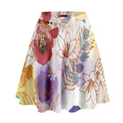 Watercolor Spring Flowers Background High Waist Skirt