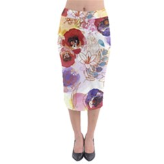 Watercolor Spring Flowers Background Midi Pencil Skirt