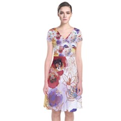 Watercolor Spring Flowers Background Short Sleeve Front Wrap Dress