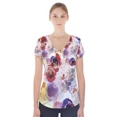 Watercolor Spring Flowers Background Short Sleeve Front Detail Top
