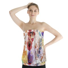 Watercolor Spring Flowers Background Strapless Top