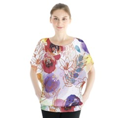 Watercolor Spring Flowers Background Blouse