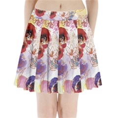Watercolor Spring Flowers Background Pleated Mini Skirt