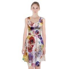 Watercolor Spring Flowers Background Racerback Midi Dress