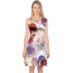 Watercolor Spring Flowers Background Capsleeve Midi Dress