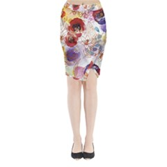 Watercolor Spring Flowers Background Midi Wrap Pencil Skirt