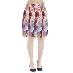 Watercolor Spring Flowers Background Pleated Skirt