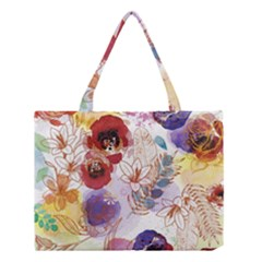 Watercolor Spring Flowers Background Medium Tote Bag