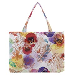 Watercolor Spring Flowers Background Medium Zipper Tote Bag