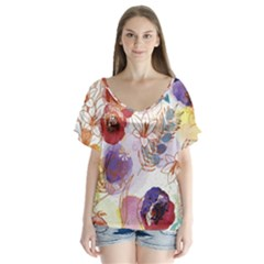Watercolor Spring Flowers Background Flutter Sleeve Top