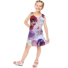 Watercolor Spring Flowers Background Kids  Tunic Dress