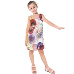Watercolor Spring Flowers Background Kids  Sleeveless Dress