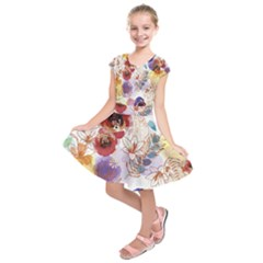 Watercolor Spring Flowers Background Kids  Short Sleeve Dress