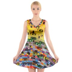 Car Painting Modern Art V-Neck Sleeveless Skater Dress