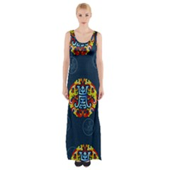 China Wind Dragon  Maxi Thigh Split Dress