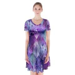 Marbleized Amethyst Short Sleeve V-neck Flare Dress
