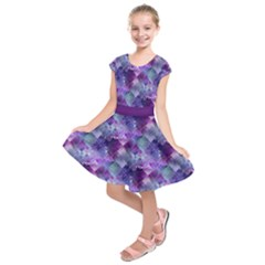 Marbleized Amethyst Kids  Short Sleeve Dress
