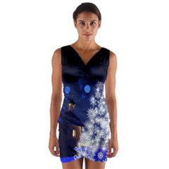 Christmas Card Christmas Atmosphere Wrap Front Bodycon Dress