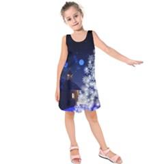 Christmas Card Christmas Atmosphere Kids  Sleeveless Dress