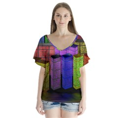 City Metropolis Sea Of Light Flutter Sleeve Top