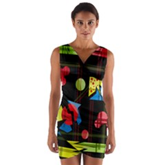 Playful day Wrap Front Bodycon Dress