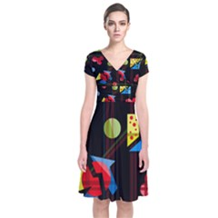 Playful day Short Sleeve Front Wrap Dress