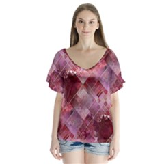 Marbleized Strawberry Flutter Sleeve Top
