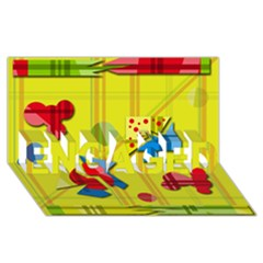 Playful day - yellow  ENGAGED 3D Greeting Card (8x4)