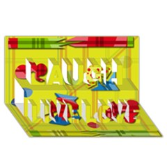 Playful day - yellow  Laugh Live Love 3D Greeting Card (8x4)