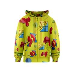 Playful day - yellow  Kids  Zipper Hoodie