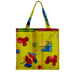 Playful day - yellow  Zipper Grocery Tote Bag
