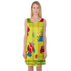 Playful day - yellow  Sleeveless Satin Nightdress